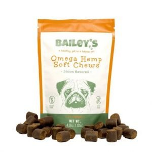 Bailey's Omega hemp dog treats for joint pain with 30 soft chews