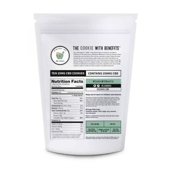 Rx CBD Cookies Supplement Facts