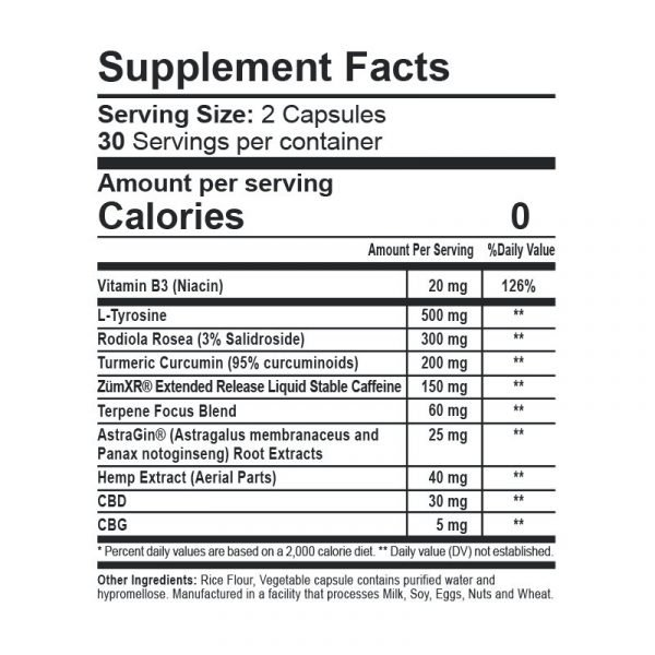 CBDfx Morning Capsules Supplement Facts